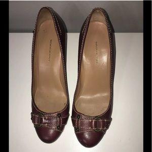 Banana Republic Brown Heels W/ Tan Stitch-Size 7.5